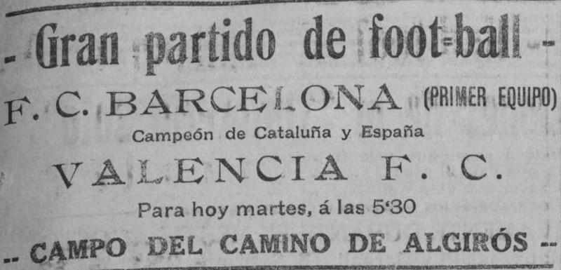 01.08.1922: Valencia CF 2 - 4 FC Barcelona