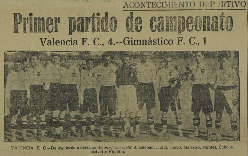 08.10.1922: Valencia CF 4 - 1 Gimnástico CF