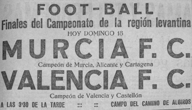 18.02.1923: Valencia CF 3 - 0 Real Murcia
