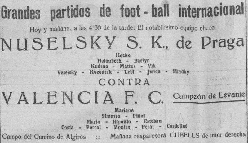 22.04.1923: Valencia CF 0 - 4 Nuselsky Praga