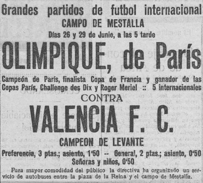 26.06.1923: Valencia CF 3 - 3 Olymp. París