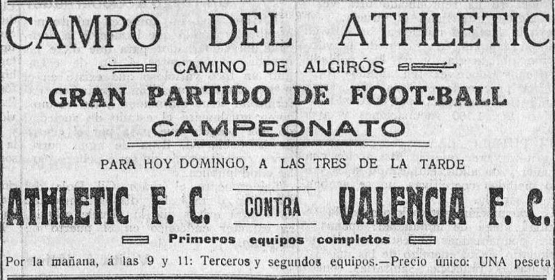 25.11.1923: Valencia CF 5 - 0 At. Valencia