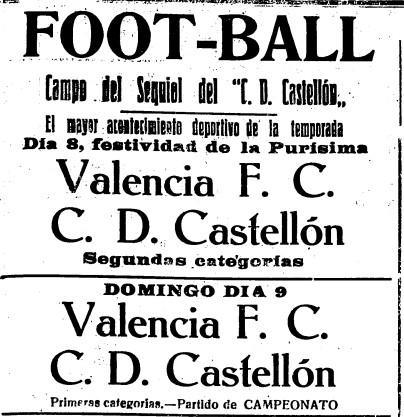 09.12.1923: CD Castellón 1 - 0 Valencia CF