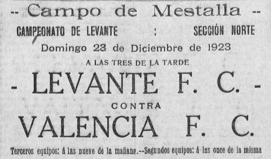 23.12.1923: Valencia CF 5 - 0 Levante UD
