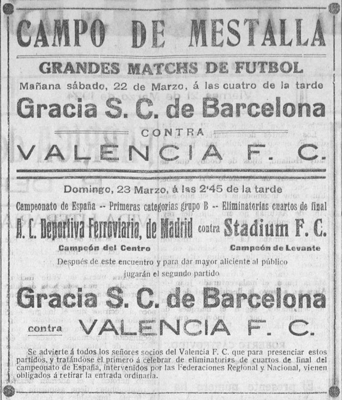 23.03.1924: Valencia CF 1 - 3 Gracia FC