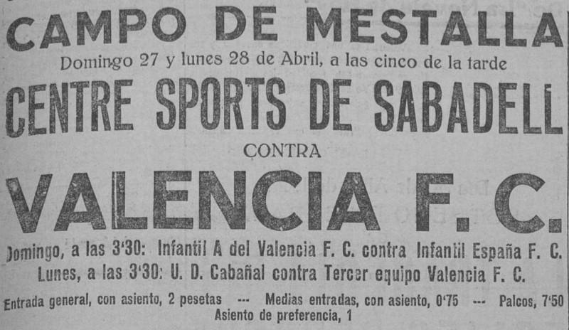 27.04.1924: Valencia CF 3 - 1 CE Sabadell