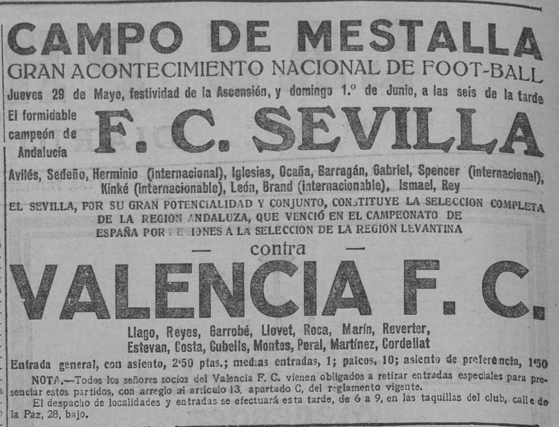 29.05.1924: Valencia CF 4 - 3 Sevilla FC