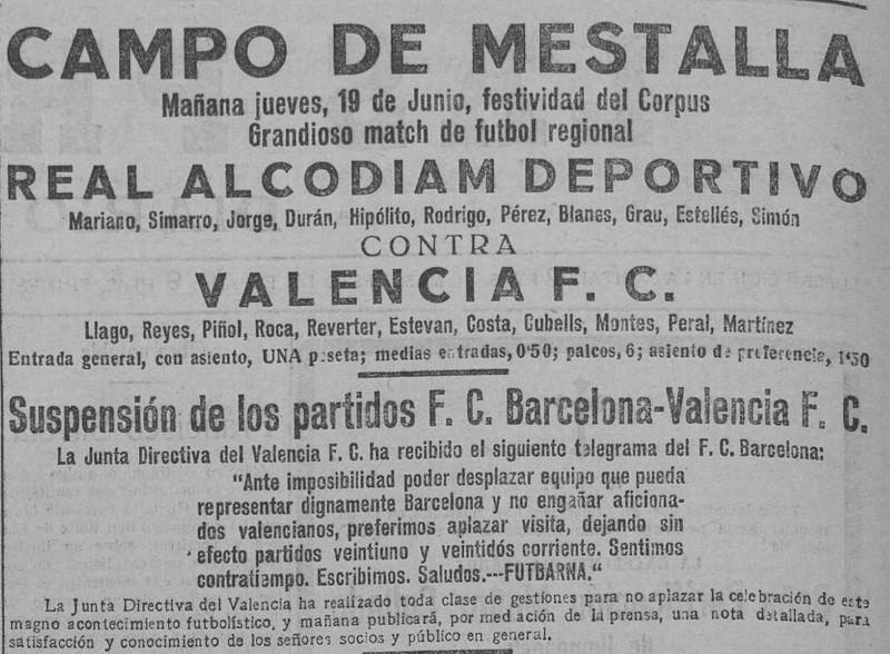 19.06.1924: Valencia CF 0 - 0 Alcodiam