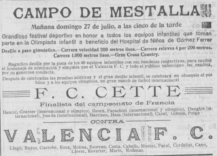 27.07.1924: Valencia CF 5 - 1 FC Sète