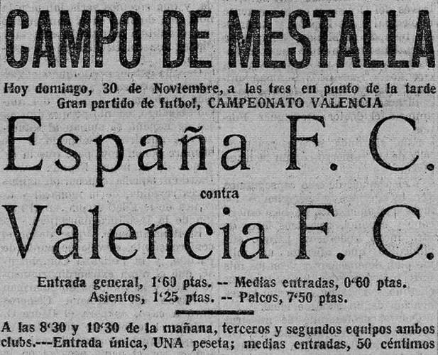 30.11.1924: Valencia CF 5 - 0 España FC