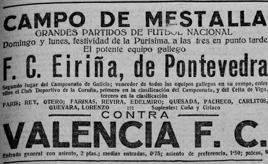 07.12.1924: Valencia CF 3 - 1 Eiriña FC
