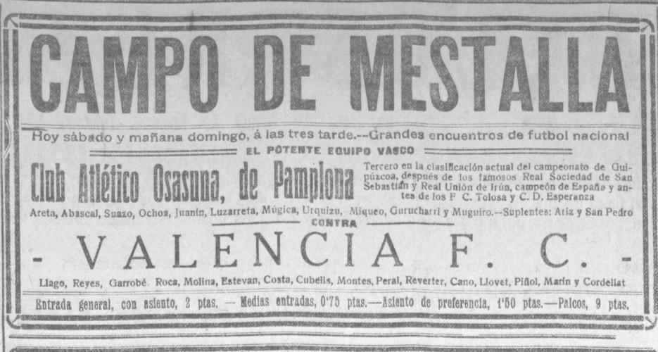 28.12.1924: Valencia CF 5 - 3 CA Osasuna
