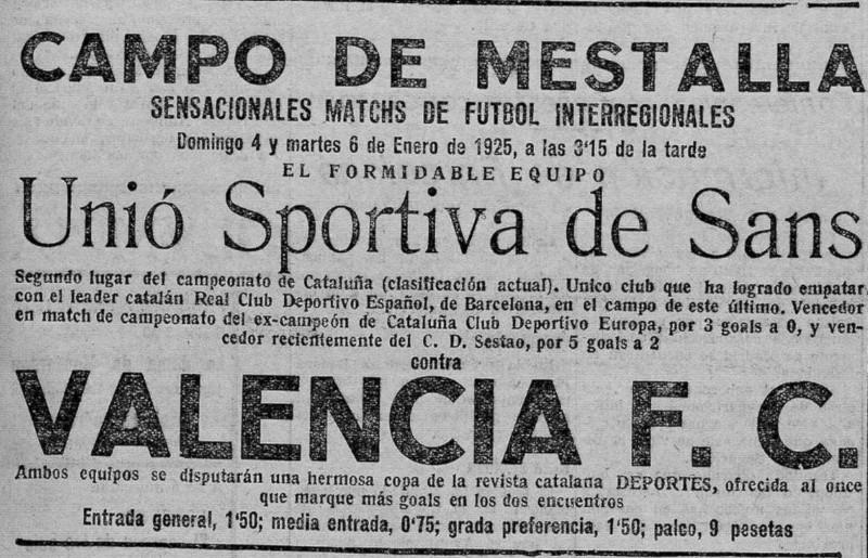 04.01.1925: Valencia CF 2 - 2 UE Sants