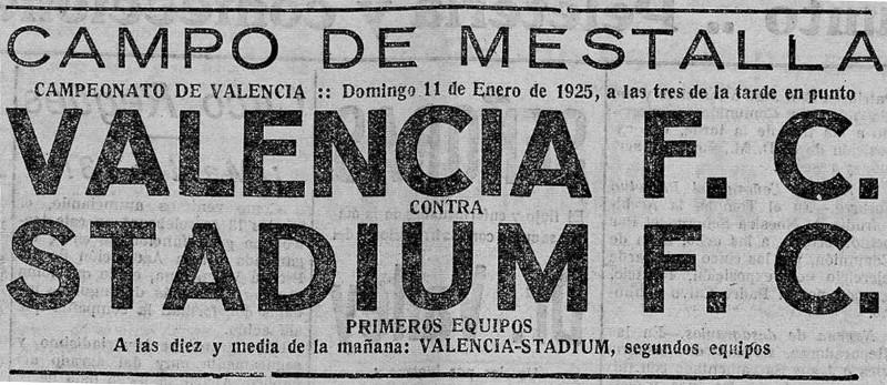 11.01.1925: Valencia CF 7 - 0 St. Valencia