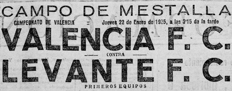22.01.1925: Valencia CF 4 - 1 Levante UD