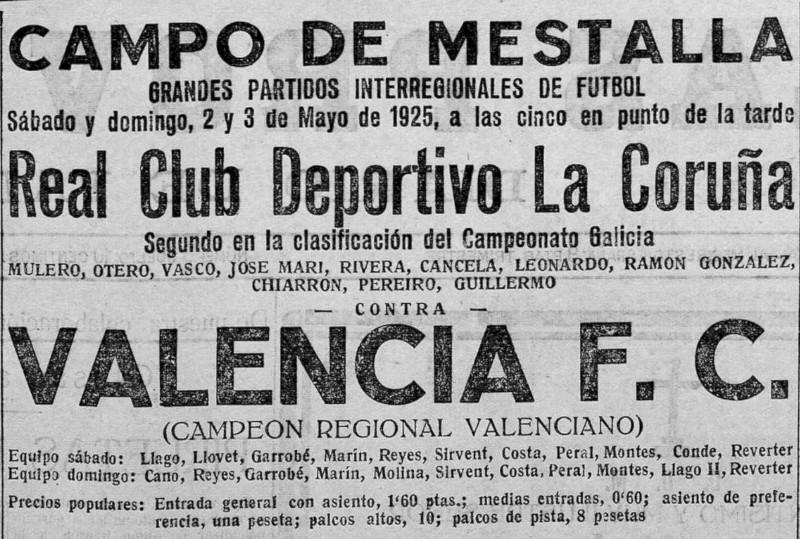 02.05.1925: Valencia CF 1 - 3 Dep. Coruña