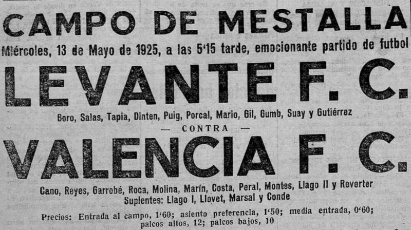 13.05.1925: Valencia CF 2 - 1 Levante UD