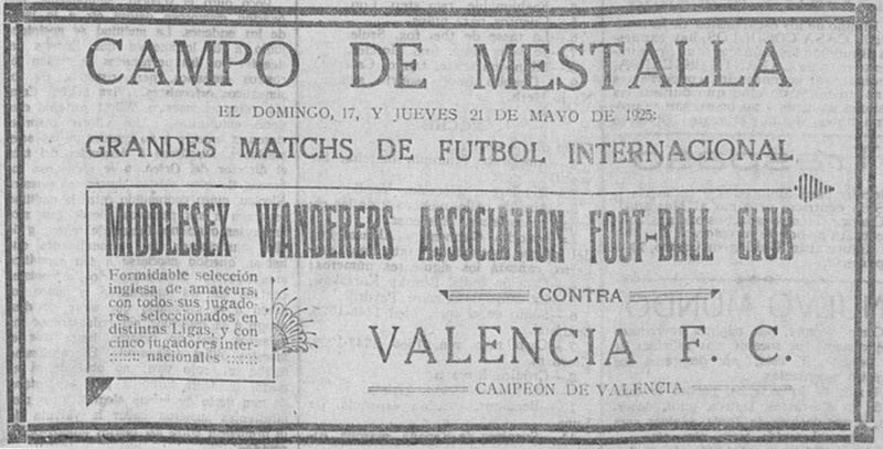 17.05.1925: Valencia CF 1 - 3 Middlesex W.