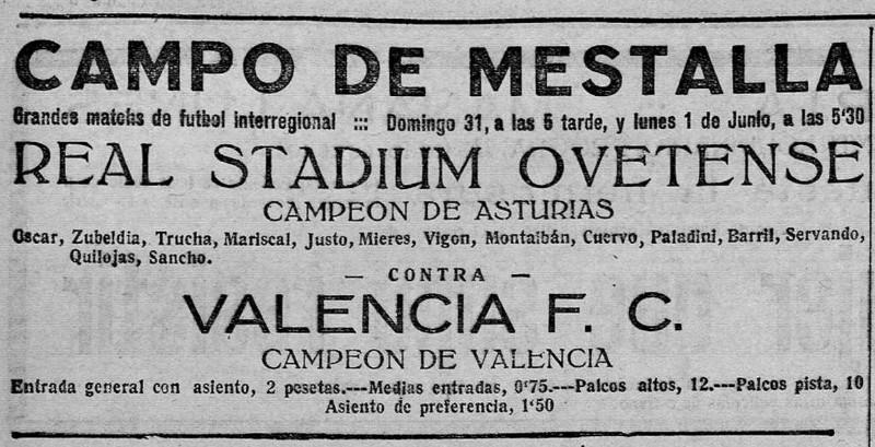 31.05.1925: Valencia CF 3 - 1 St. Oviedo