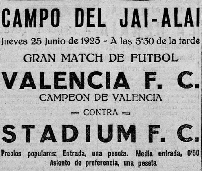 25.06.1925: St. Valencia 0 - 2 Valencia CF