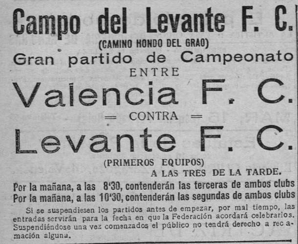 29.11.1925: Levante UD 1 - 3 Valencia CF
