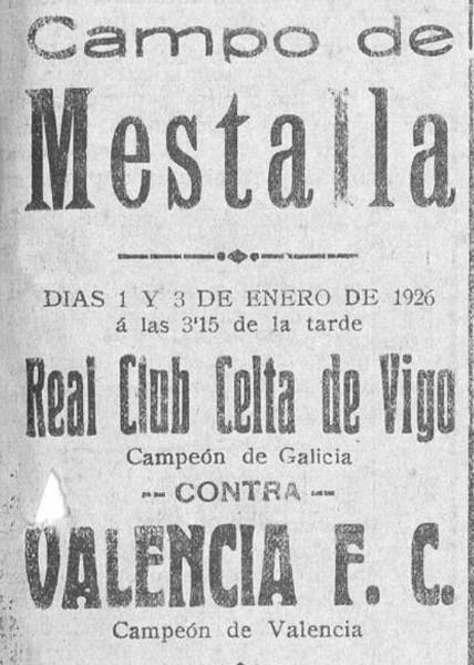 01.01.1926: Valencia CF 1 - 1 Celta de Vigo