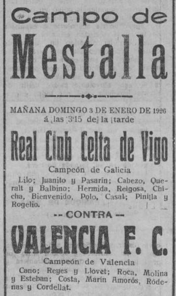 03.01.1926: Valencia CF 2 - 3 Celta de Vigo