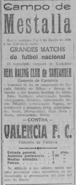 05.01.1926: Valencia CF 2 - 2 Rac. Santander