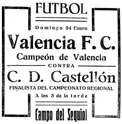 24.01.1926: CD Castellón 0 - 1 Valencia CF