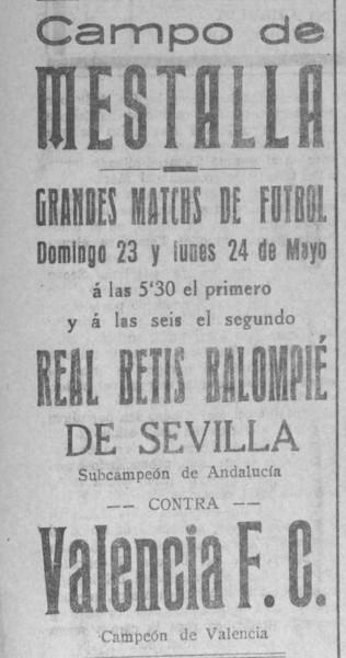 24.05.1926: Valencia CF 3 - 2 Real Betis