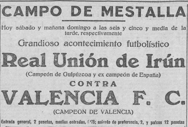 05.06.1926: Valencia CF 3 - 4 Real Unión