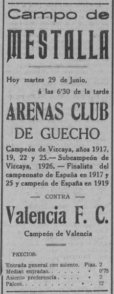 29.06.1926: Valencia CF 4 - 3 Arenas Getxo