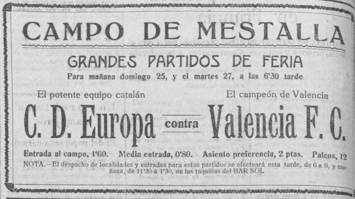 25.07.1926: Valencia CF 1 - 3 CD Europa
