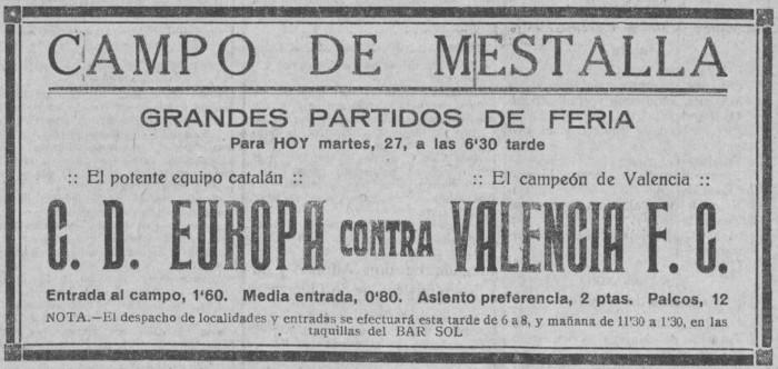 27.07.1926: Valencia CF 3 - 1 CD Europa