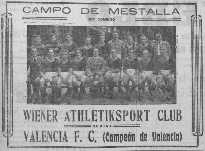 03.10.1926: Valencia CF 2 - 2 Wiener SK