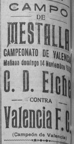 14.11.1926: Valencia CF 11 - 0 Elche CF