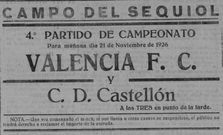 21.11.1926: CD Castellón 3 - 1 Valencia CF