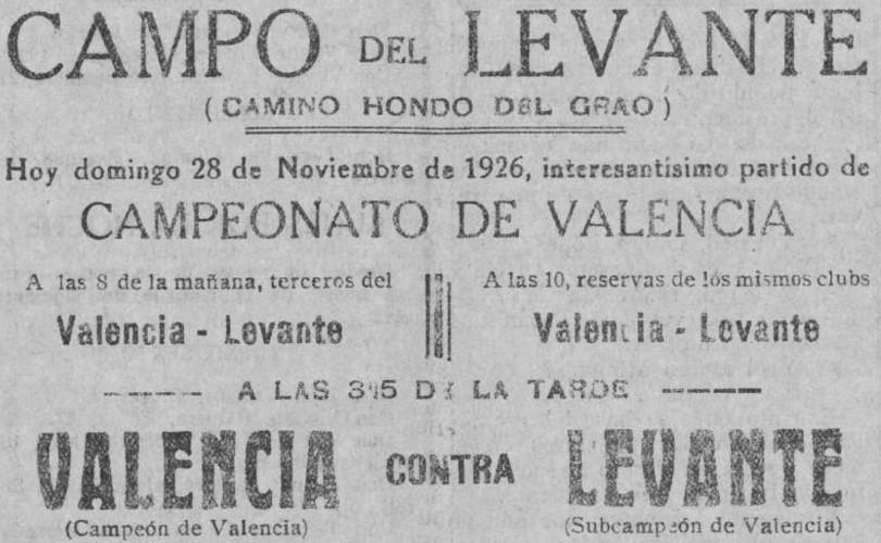 28.11.1926: Levante UD 3 - 3 Valencia CF