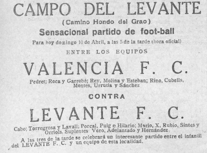 10.04.1927: Levante UD 3 - 1 Valencia CF