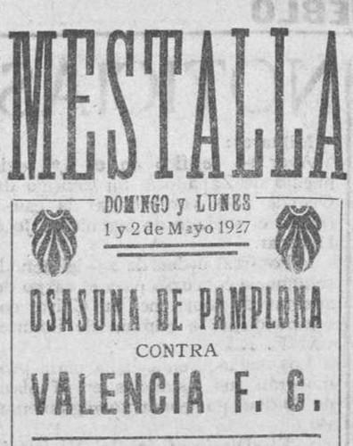 02.05.1927: Valencia CF 3 - 3 CA Osasuna