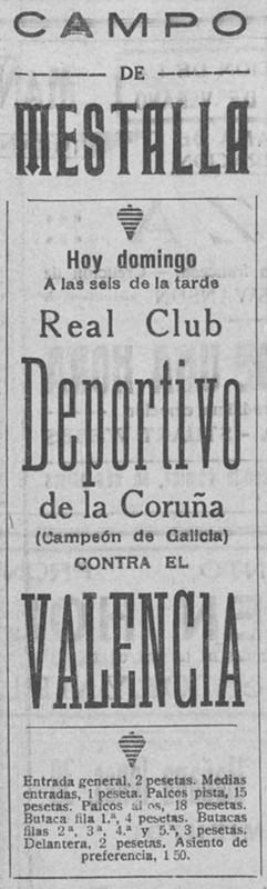 29.05.1927: Valencia CF 6 - 1 Dep. Coruña