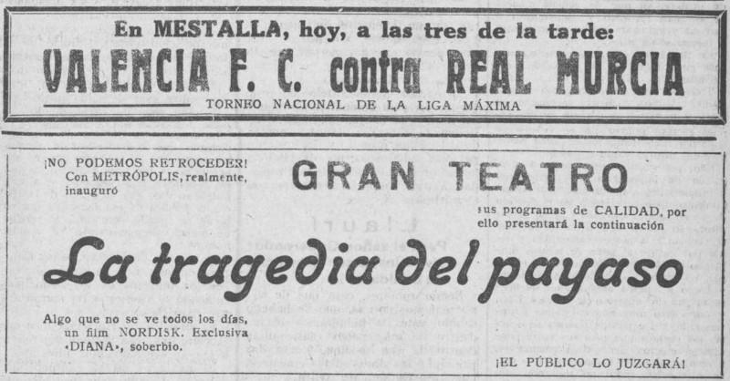 27.11.1927: Valencia CF 2 - 3 Real Murcia