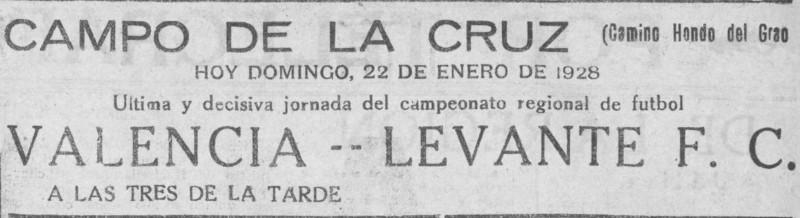 22.01.1928: Levante UD 2 - 1 Valencia CF