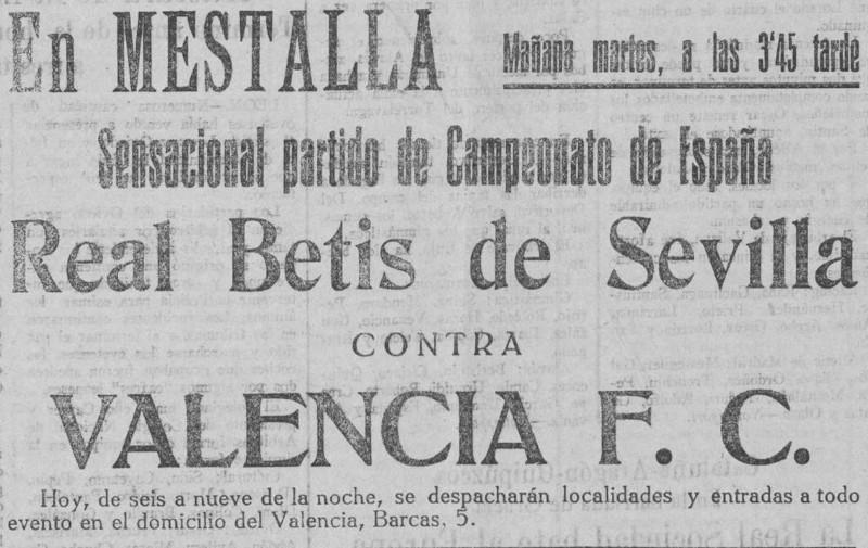 28.02.1928: Valencia CF 3 - 3 Real Betis