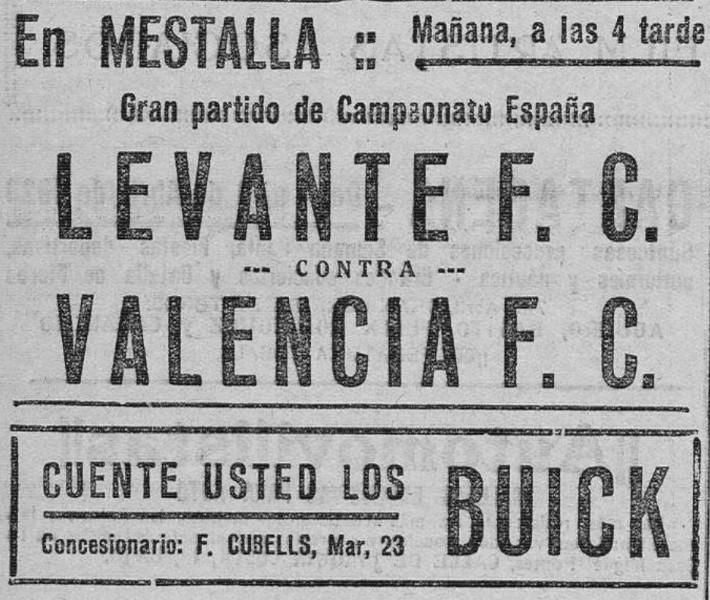 25.03.1928: Valencia CF 4 - 2 Levante UD