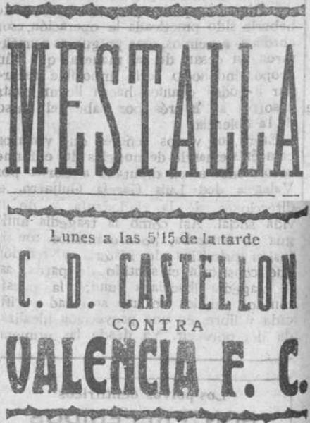 16.04.1928: Valencia CF 4 - 2 CD Castellón