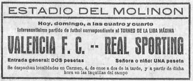 20.05.1928: Sporting Gijón 5 - 1 Valencia CF