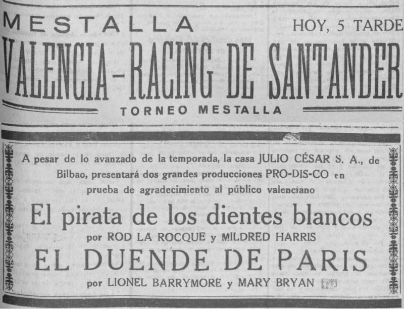 07.06.1928: Valencia CF 1 - 2 Rac. Santander