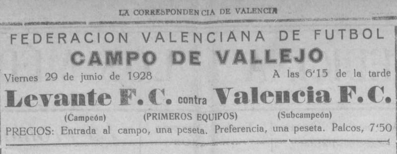 29.06.1928: Levante UD 0 - 3 Valencia CF