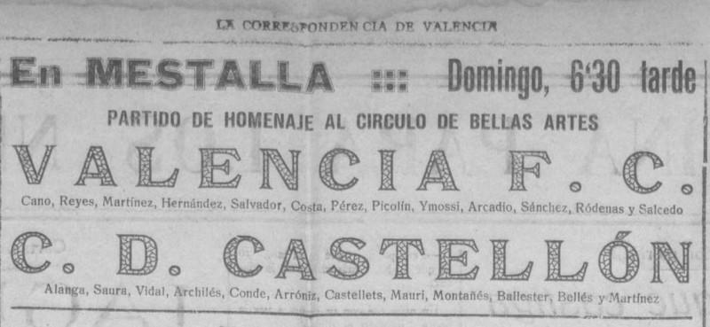 01.07.1928: Valencia CF 2 - 6 CD Castellón